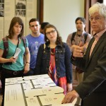 Wolf Kaiser, education director at the House of the Wannsee Conference, speaks to FASPE fellows before guiding them into the exhibit. Photo by Bogdan Mohora.