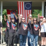 "National Socialist Movement members pose for a group photo at a June 2009 ""Meet & Greet"" in Tupelo, Miss (Courtesy  of Southern Poverty Law Center)"