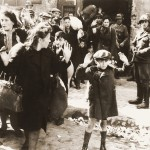 """Forcibly Pulled out of Dug-Outs""  Photograph from Jürgen Stroop's report on the liquidation of the Warsaw Ghetto, May 1943"